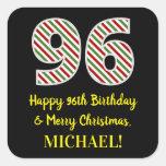 [ Thumbnail: Happy 96th Birthday & Merry Christmas, Custom Name Sticker ]
