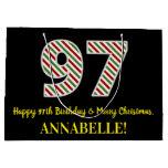 [ Thumbnail: Happy 97th Birthday & Merry Christmas, Custom Name Gift Bag ]