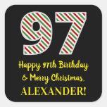 [ Thumbnail: Happy 97th Birthday & Merry Christmas, Custom Name Sticker ]