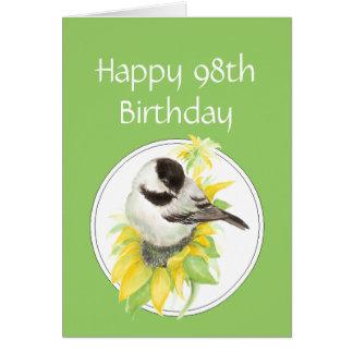 Happy 98th birthday Chickadee Sunflower Bird Card