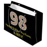 [ Thumbnail: Happy 98th Birthday & Merry Christmas, Custom Name Gift Bag ]