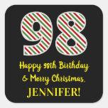 [ Thumbnail: Happy 98th Birthday & Merry Christmas, Custom Name Sticker ]