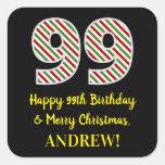 [ Thumbnail: Happy 99th Birthday & Merry Christmas, Custom Name Sticker ]