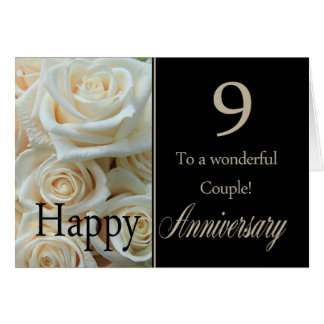 Wedding Gifts For 9th Anniversary : Happy 9th Anniversary roses Card