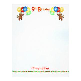 Happy 9th Birthday Bear Scrapbook Paper 2