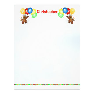 Happy 9th Birthday Bear Scrapbook Paper 3