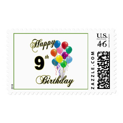 Happy 9th Birthday Gifts and Birthday Apparel Postage Stamp