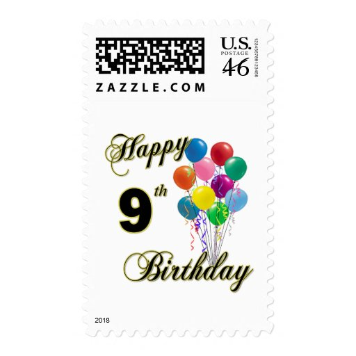 Happy 9th Birthday Gifts and Birthday Apparel Stamps