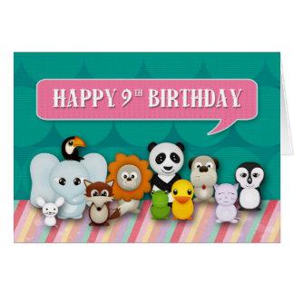 Happy 9th Birthday Girly Cute Smiling Animals Card
