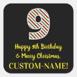 [ Thumbnail: Happy 9th Birthday & Merry Christmas, Custom Name Sticker ]