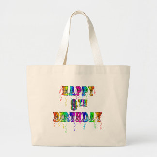 Happy 9th Birthday Shirts, Birthday Mugs and more Large Tote Bag