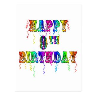 Happy 9th Birthday Shirts Birthday Mugs and more Postcard