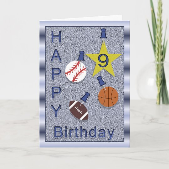 Happy 9th Birthday Sports Themed Card Zazzle