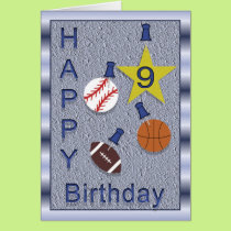 Happy 9th Birthday Sports Themed Card