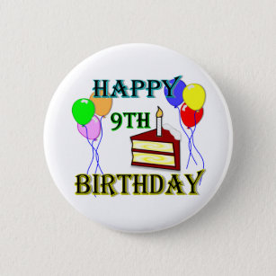 Happy 9th Birthday With Cake Balloons And Candle Pinback Button