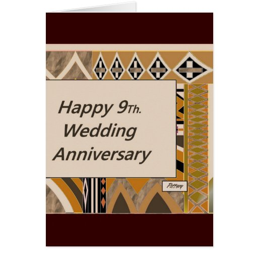 Wedding Gifts For 9th Anniversary : Happy 9Th. Wedding Anniversary Pottery Card Zazzle