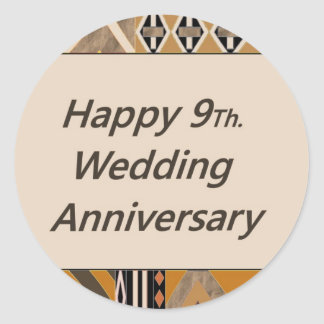 Hy 9th Wedding Anniversary Pottery Clic Round Sticker