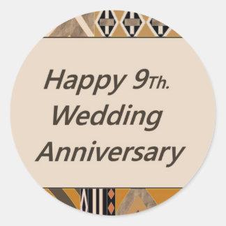 Happy 9Th. Wedding Anniversary Pottery Classic Round Sticker