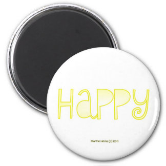 Happy - A Positive Word 2 Inch Round Magnet