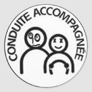 happy accompanied control classic round sticker