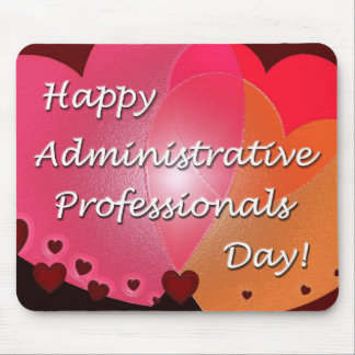 Happy Administrative Professionals Day Hearts Mouse Pad