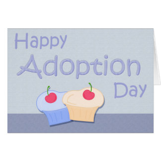 Happy Adoption Day Cupcakes in Blues Greeting Card