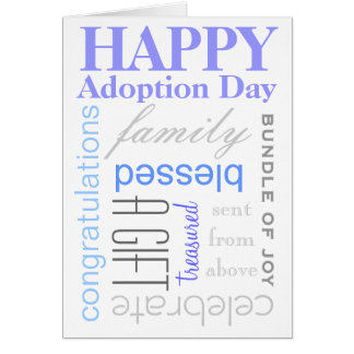 Happy Adoption Day Text Design in Blue & Grey Card