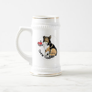 Happy Adorable Funny & Cute Collie Dog Beer Stein