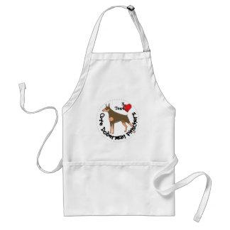 Happy Adorable Funny & Cute Doberman Pinscher Dog Adult Apron