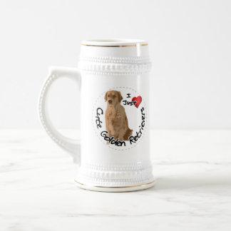 Happy Adorable Funny & Cute Golden Retriever Dog Beer Stein