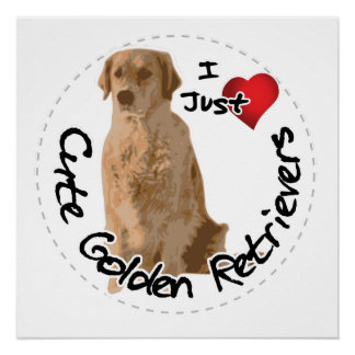 Happy Adorable Funny & Cute Golden Retriever Dog Poster