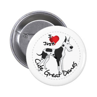Happy Adorable Funny & Cute Great Dane Dog Button
