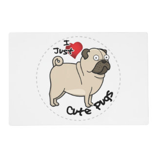 Happy Adorable Funny & Cute Pug Dog Placemat