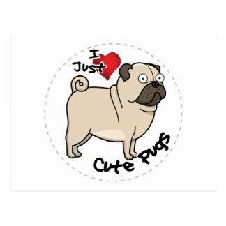 Happy Adorable Funny & Cute Pug Dog Postcard