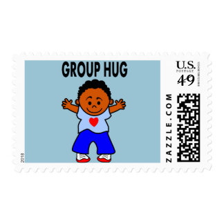 Happy African American boy stamp group hug