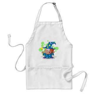 Happy African American Wizard Girl Adult Apron
