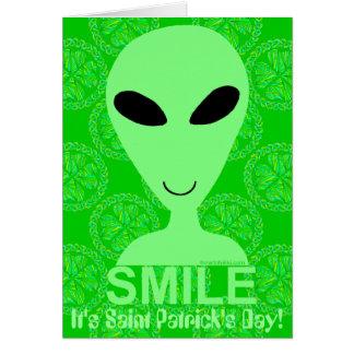 Happy Alien St. Patrick's Day Green Beer Card