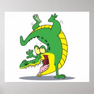 happy alligator crocodile cartoon dancing poster