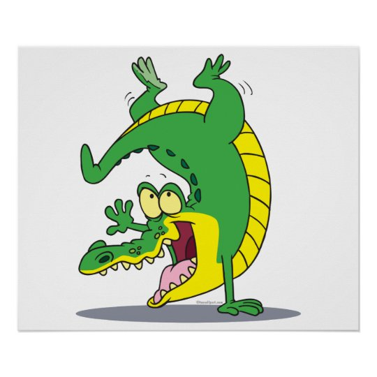 happy alligator crocodile cartoon dancing poster