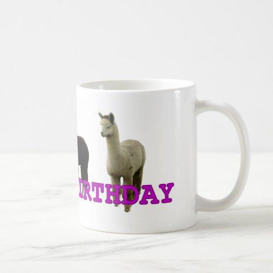 Happy (alpaca)  birthday coffee mug