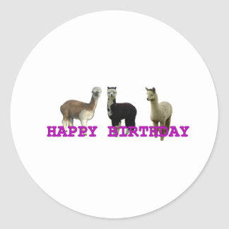 Happy alpaca birthday stickers