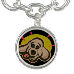 Happy and bright dog face cartoon charm bracelet