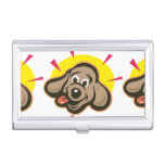 Happy and bright dog face cartoon case for business cards