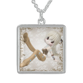 Happy and Cute Blond Girl Sterling Silver Necklace