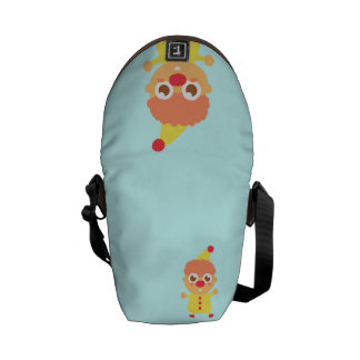 Happy and Cute Circus Clown Messenger Bags