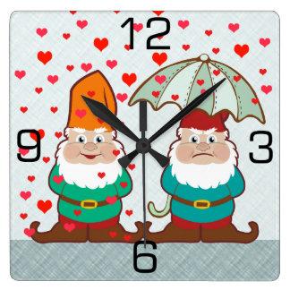 Happy and Grumpy Gnomes Square Wall Clock