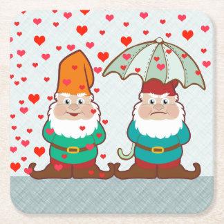 Happy and Grumpy Gnomes Square Paper Coaster