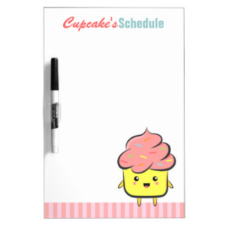 Happy and Kawaii cupcake with colorful sprinkles Dry Erase Boards