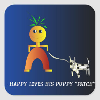 Happy and Patch>  Childrens Sticker. Square Sticker