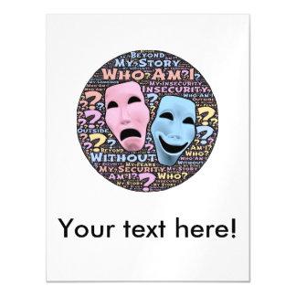 Happy and sad masks cartoon magnetic card